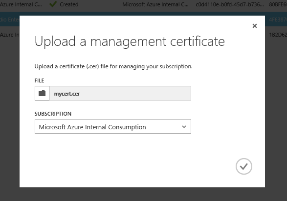 Uploading a certificate to the Azure Management Portal
