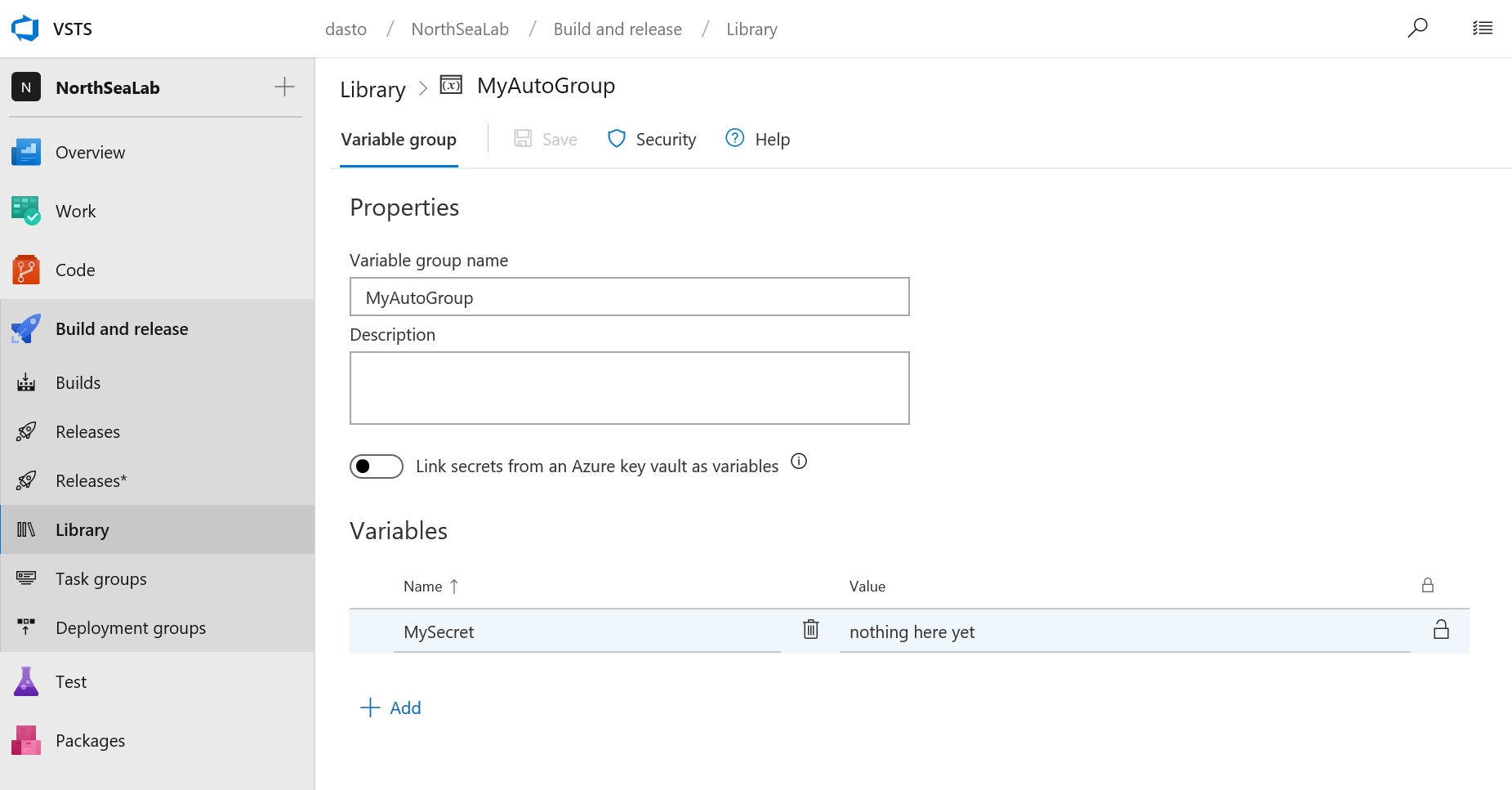 Updating a VSTS variable group from the command line