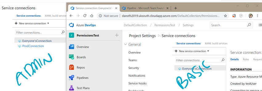 An Azure DevOps setting screen overlayed by a TFS setting screen. They show the service connections that either user (mentionned just before) has got access to.